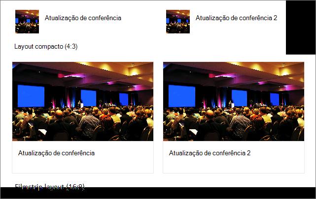 Exemplos de imagens em layouts de links rápidos