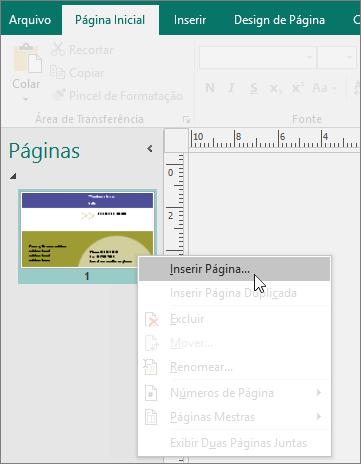 Inserir Página no painel de Navegação de páginas no Publisher.