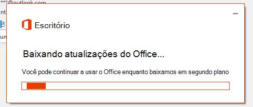 Caixa de diálogo de download de atualizações do Office