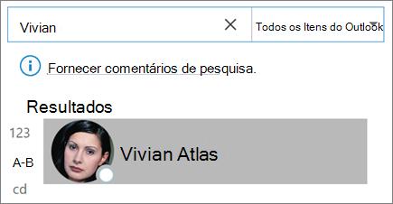 Usar a pesquisa no Outlook para localizar contatos