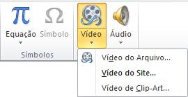 O botão na faixa de opções para inserir um vídeo online no PowerPoint 2010