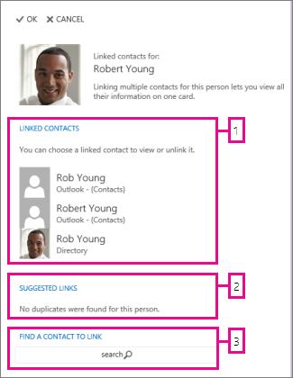 página de contatos vinculados