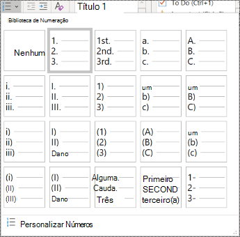 Captura de tela da opção de lista numerada no menu Página Inicial.