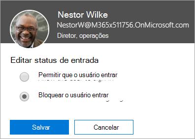 """Captura de tela da caixa de diálogo """"Status de entrada"""" no Office 365"""