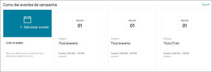 Entrada de Web Part de eventos de exemplo para o site de fornecimento moderno no SharePoint Online