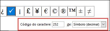 O campo De informa que se trata de um símbolo do ASCII