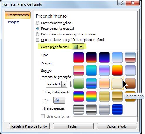 Para usar o gradiente predefinido, selecione Predefinir Cores e selecione uma opção.