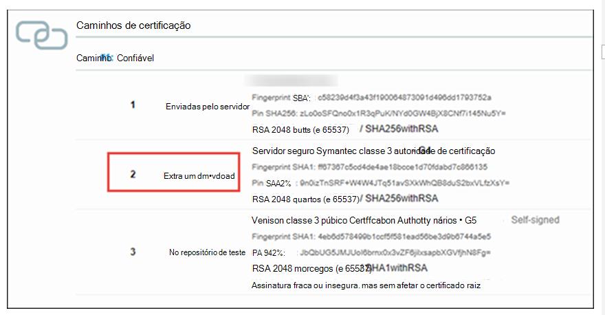 Lista de certificados SSL com erro extra de download