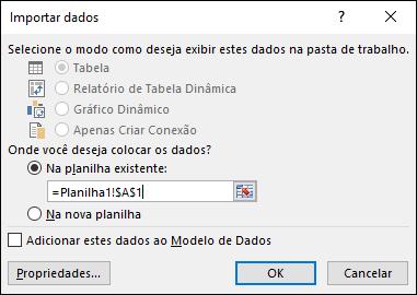 Na caixa de diálogo Importar Dados, escolha colocar os dados em uma planilha existente, a configuração padrão, ou em uma nova planilha