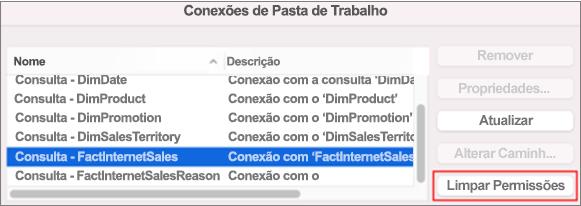 Removendo credenciais salvas para uma conexão de dados no Mac