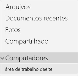 Navegação do lado esquerdo do OneDrive mostrando o menu de PCs expandido