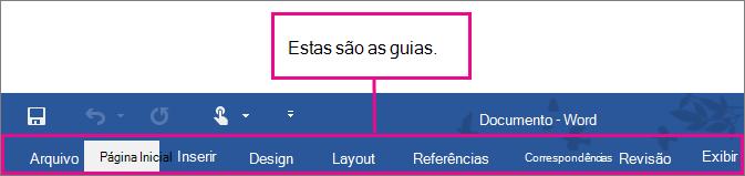 Uma imagem das guias da faixa de opções do Word.