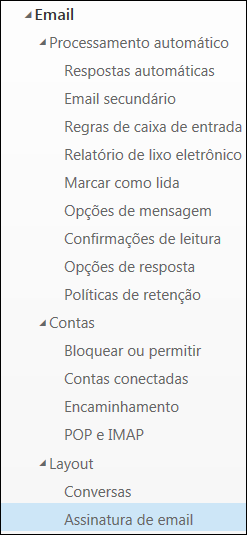 Assinatura de email no Outlook na Web