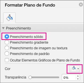 Preenchimento Sólido do PowerPoint para Mac