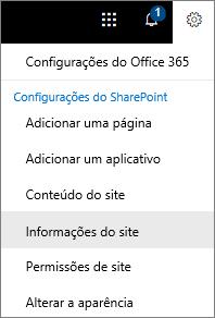 Menu configurações com informações de Site selecionados