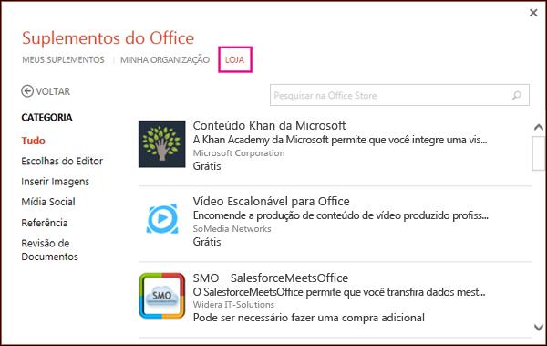 Caixa de diálogo Suplementos do Office com o botão LOJA realçado
