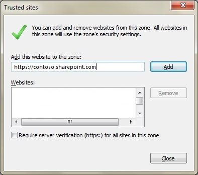 Caixa de diálogo de Sites confiável