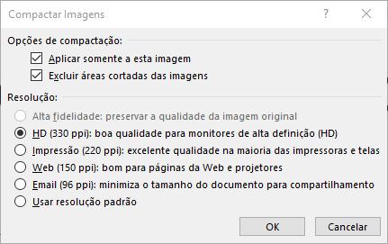 Caixa de diálogo Compactar Imagens