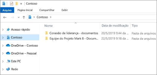 Captura de tela mostrando as pastas a sincronizar do OneDrive e sites.