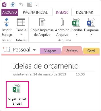 Inserir um arquivo existente do Excel