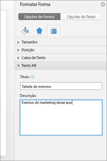 Captura de tela do painel Formatar Forma com as caixas de Texto Alt, descrevendo a tabela selecionada