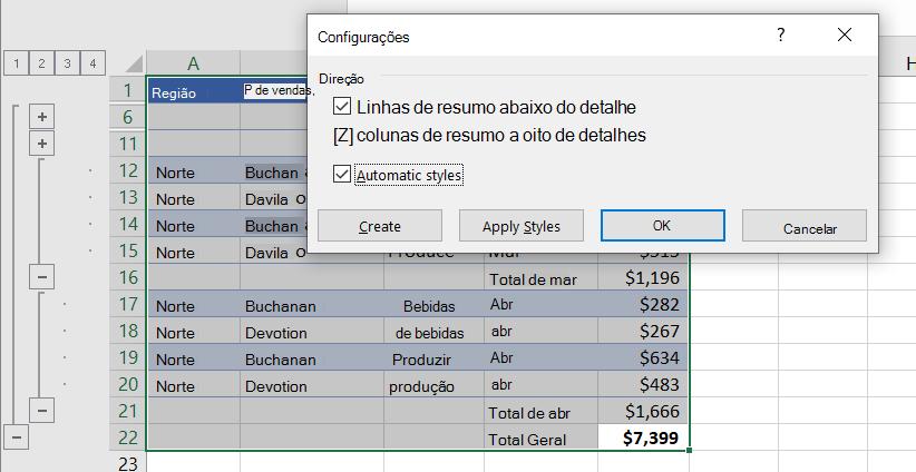 Caixa de diálogo Configurações com estilos automáticos selecionados