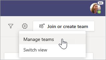Selecione gerenciar equipes.