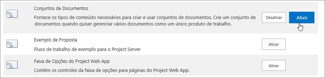 Exemplos de recursos do conjunto de sites que você pode tornar ativo para o SharePoint