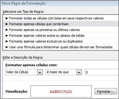 Regra de formatação condicional que exibe números menores que 0 em texto vermelho