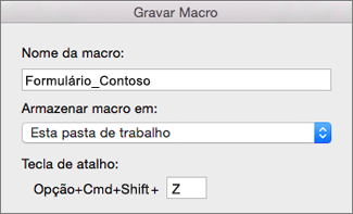 Formulário Gravar Macros do Excel para Mac
