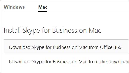 Captura de tela da página de instalação do Skype for Business no Mac em support.office.com.