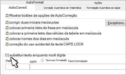 Caixa de seleção substituir ao digitar na guia AutoCorreção