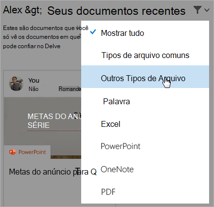 Captura de tela da página de documentos recentes com a lista de filtros aberta.