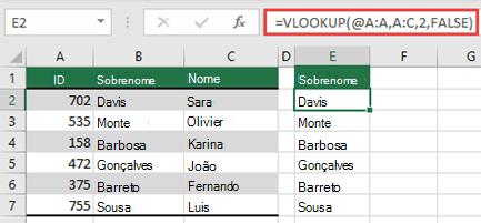 Use o operador @ e copie para baixo: =VLOOKUP(@A:A,A:C,2,FALSE). Esse estilo de referência funcionará em tabelas, mas não retornará uma matriz dinâmica.