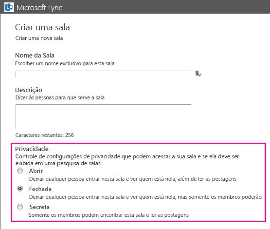 Captura de tela da janela Criar uma sala de chat com as opções de associação realçadas