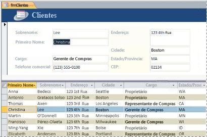 Um formulário dividido em um banco de dados da área de trabalho do Access