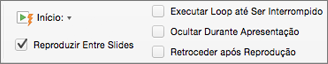 Opção de áudio para reproduzir uma música continuamente em todos os slides
