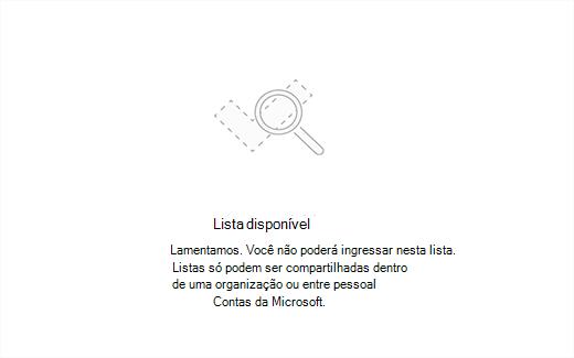 Captura de tela mostrando a mensagem de erro lista indisponível