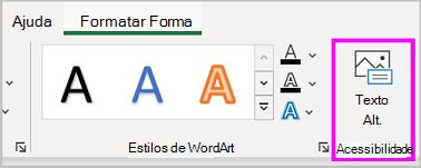 Botão Texto Alt no menu Formatar Forma