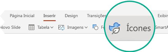 O botão Ícones na guia Inserir no PowerPoint para a Web.