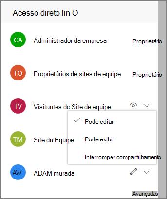 Captura de tela dos links de acesso direto
