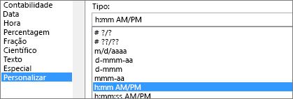 Caixa de diálogo Formatar células, comando personalizado, tipo h:mm AM/PM