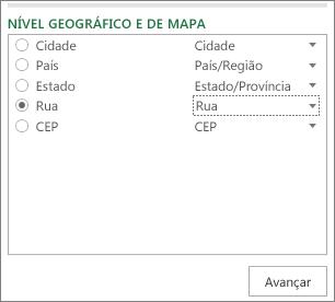 Geografia e nível do mapa no painel de tarefas