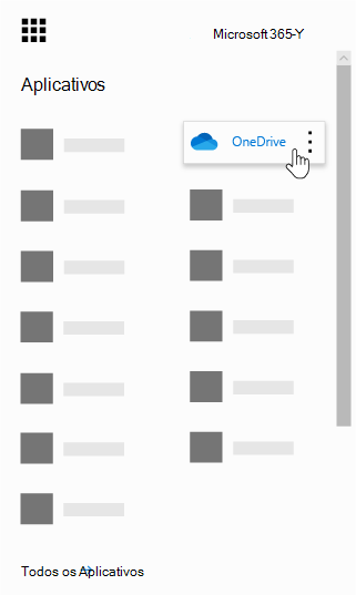 O inicializador de aplicativos do Office 365 com o aplicativo OneDrive realçado