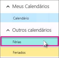 Escolher um calendário