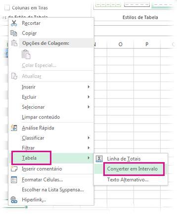 opção tabela no menu de clique direito do mouse