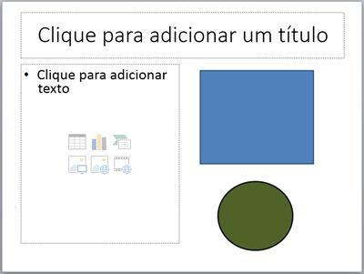 Um slide com dois espaços reservados e dois objetos separados