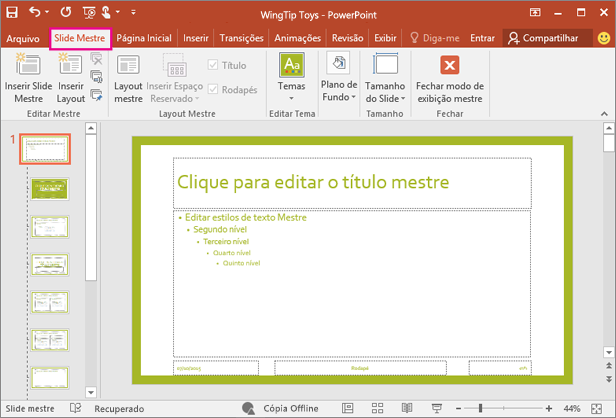 Mostra o layout de slide no modo de exibição Slide Mestre do PowerPoint
