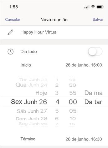 Configurações de reunião – captura de tela móvel