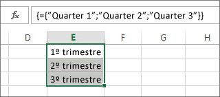 Uma constante de matriz vertical que usa texto